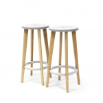 LOT DE 2 TABOURETS HAUT WOODY BLANCS