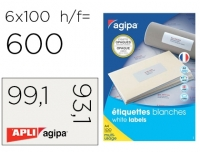 ÉTIQUETTES MULTI-USAGES OPAQUES BLANCHES 99.1 X 93,1 MM - AGIPA