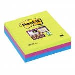 LOT DE 3 BLOC-NOTES POST-IT SUPER STICKY 101 X 101 MM COLORIS NÉON ASSORTIS - LIGNÉ