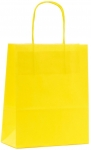 SAC KRAFT A POIGNEES TORSADEES - 18X22X8 JAUNE - LOT DE 50