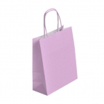 SAC KRAFT A POIGNEES TORSADEES - LOGISTIPAK - 18X22X8 ROSE - LOT DE 50