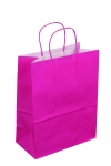 SAC KRAFT A POIGNEES TORSADEES - 18X22X8 FUCHSIA - LOT DE 50