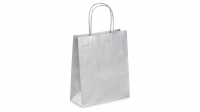 SAC KRAFT A POIGNEES TORSADEES - 18X22X8 ARGENT - LOT DE 50