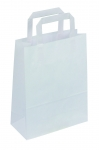 SAC KRAFT A POIGNEES PLATES - 18X22X8 BLANC - LOT DE 50