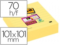 LOT DE 3 BLOC-NOTES POST-IT SUPER STICKY 101 X 101 MM - JAUNE - LIGNÉ